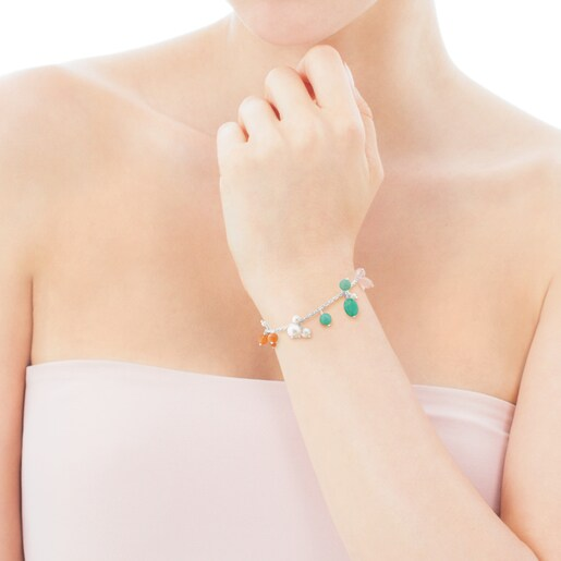 Amelie Bracelet in Silver with Beryl, Pink Quartz and Pearl