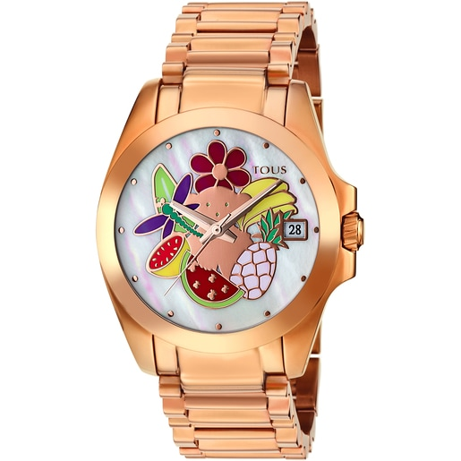 Pink IP Steel Miranda Watch with Mother-of-pearl
