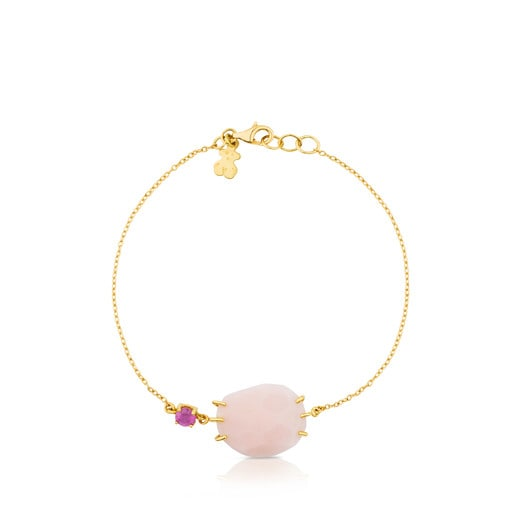 Gold Ethereal Bracelet with Opal and Ruby