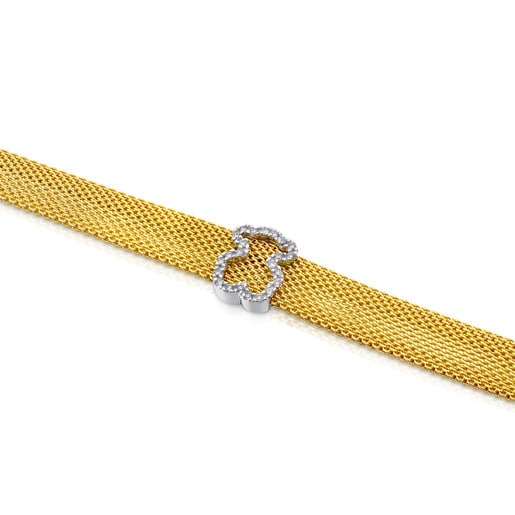 Armband Icon Mesh aus Gold mit Diamanten