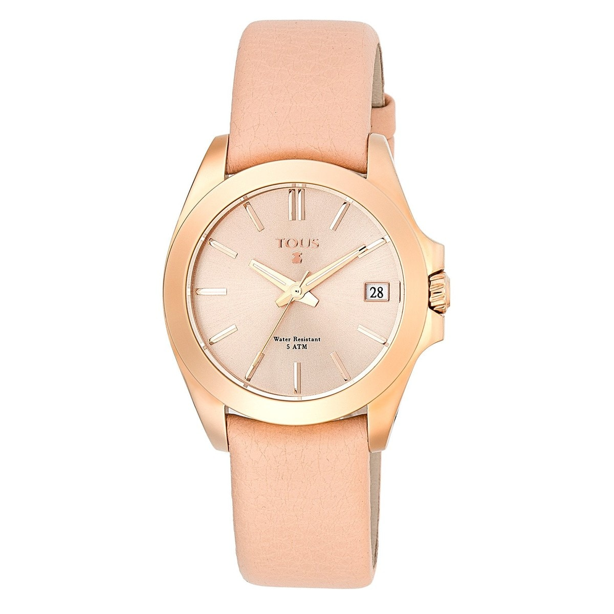 Pink IP Steel Drive 34 Watch with nude Leather strap