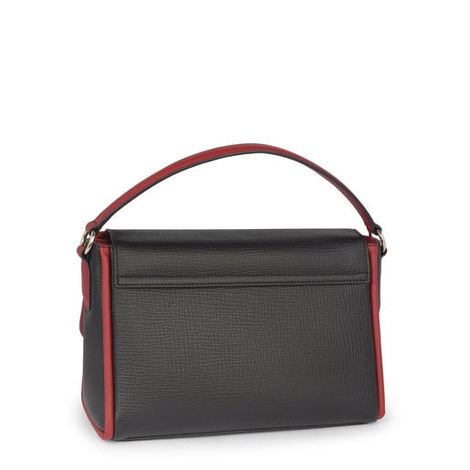 Small leather black-red Bridgy Luxe crossbody bag