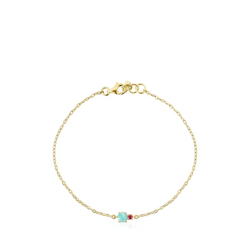 Mini Ivette Bracelet in Gold with Amazonite and Ruby