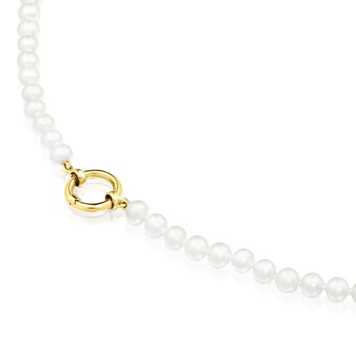 Gold Hold Necklace with Pearls