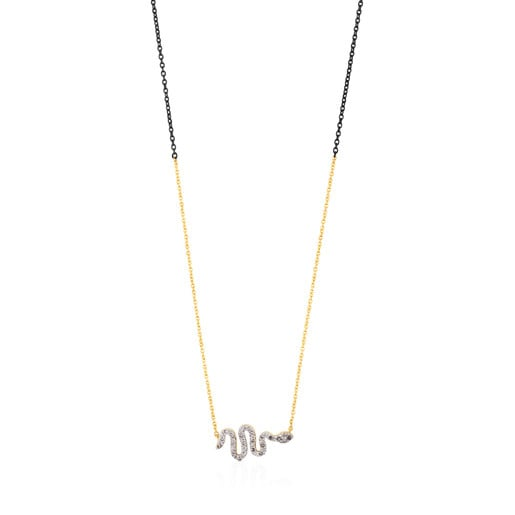 Gold and Silver Gem Power Necklace with Diamonds