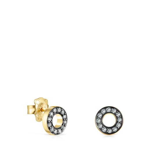 Nocturne mini-disc Earrings in Silver Vermeil with Diamonds