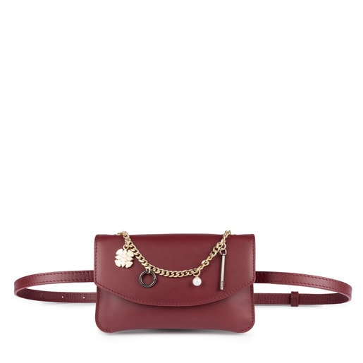 Burgundy leather Liz Pendants belt bag