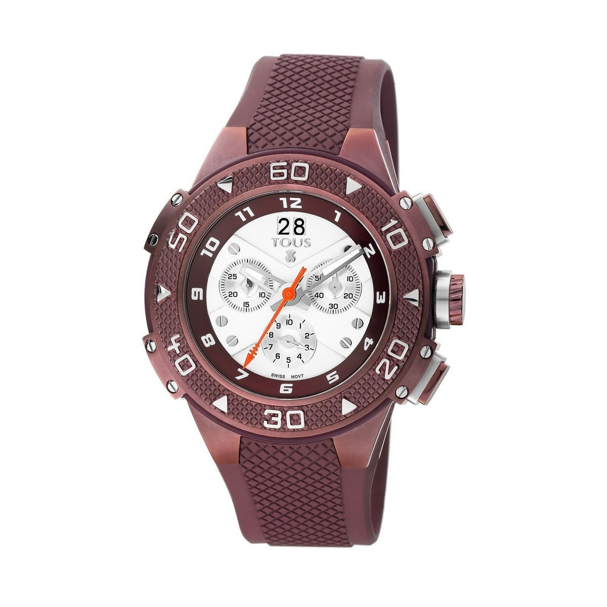 Purple Steel IP Xtous Watch with purple Silicone strap