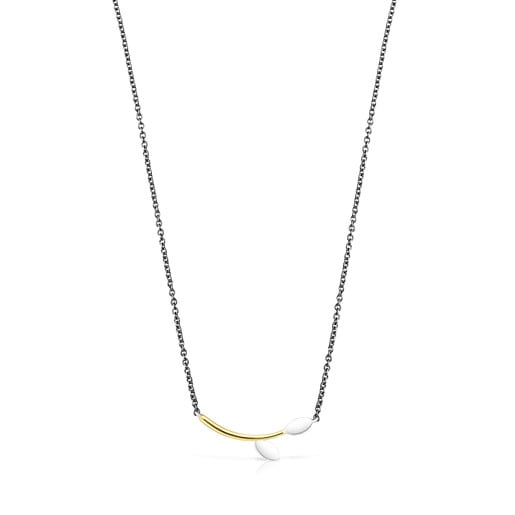 Dark Silver, Silver and Silver Vermeil Real Mix Leaf Necklace