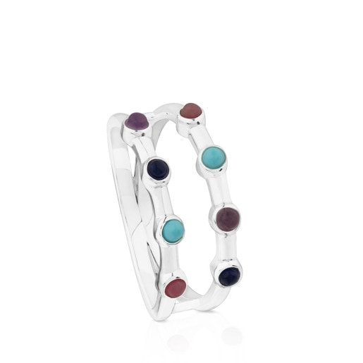 Silver Super Power Ring with Gemstones