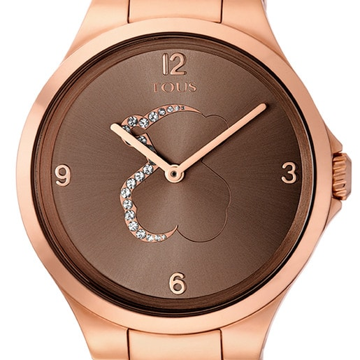 Rose IP Steel Motion Watch with transparent Crystals