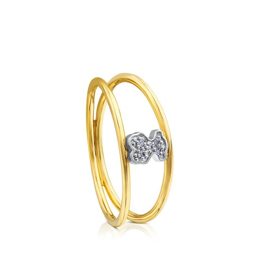 Anillo Puppies de Oro con Diamantes