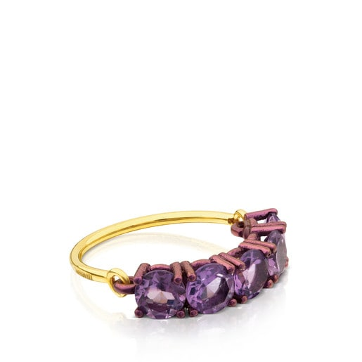 Gold and Pink Titanium Titanio Ring with Amethyst