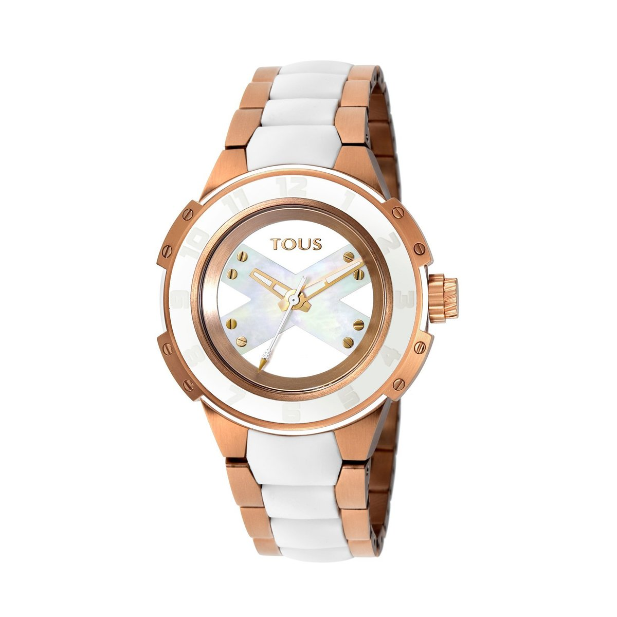 Two-tone pink/white IP Steel Xtous Lady Watch with white Silicone strap