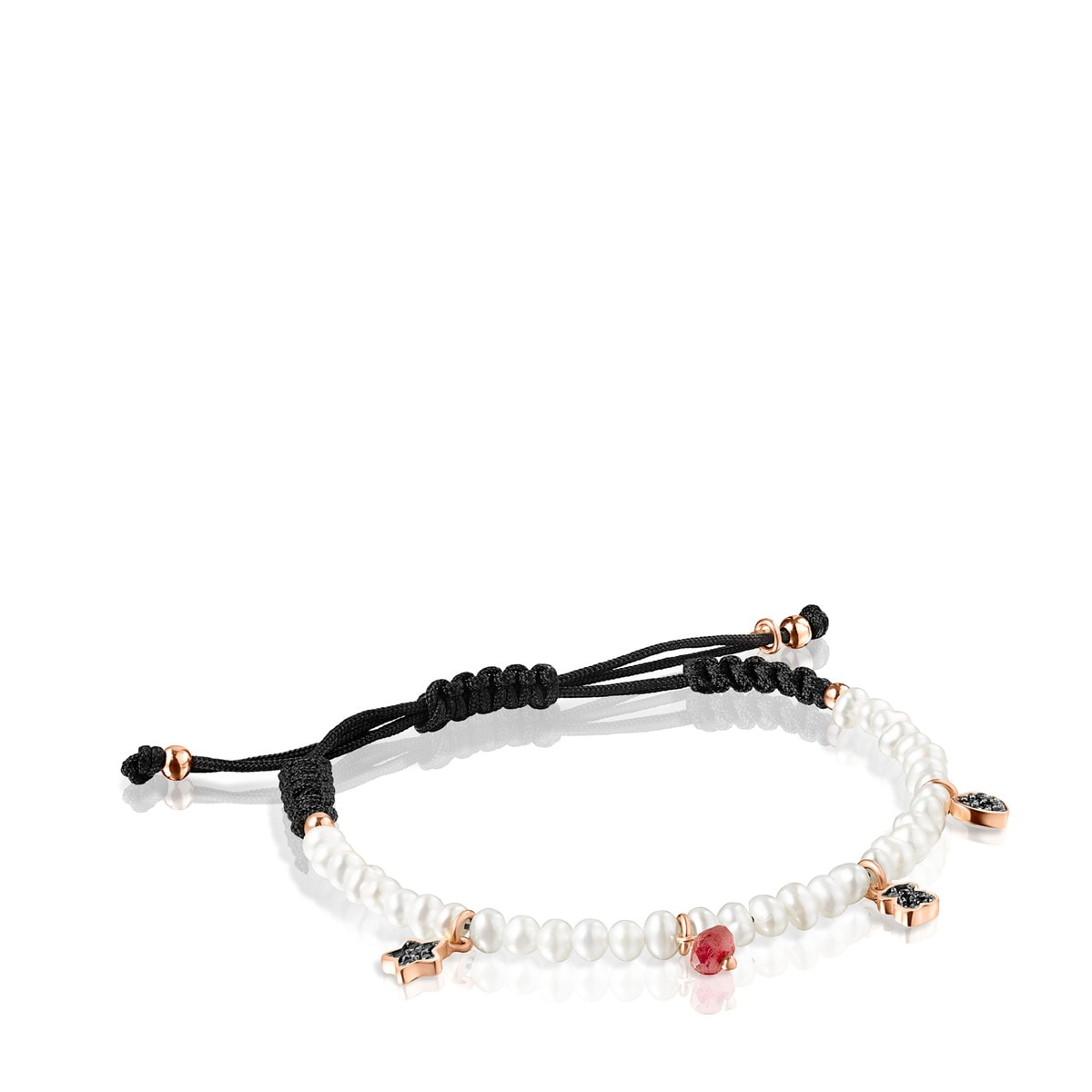 Motif Bracelet with Pearls and black Cord in Rose Gold Vermeil and Gemstones