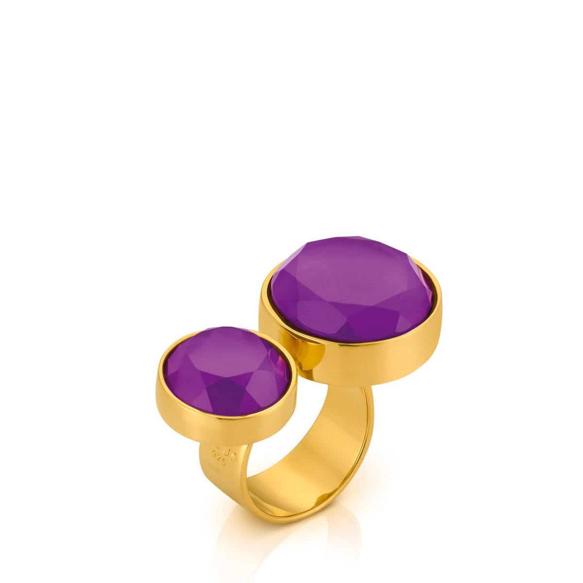 Vermeil Silver Bright Ring Amethyst and Mother of Pearl