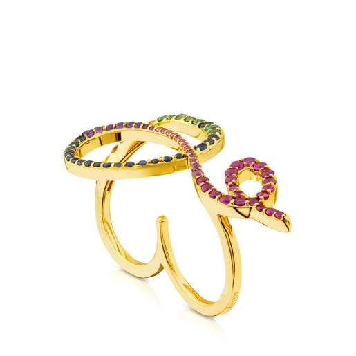 Gold Lio Ring with Gemstones