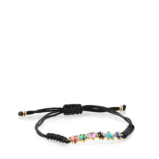 Glory Bracelet in Silver Vermeil with Gemstones and Black Cord