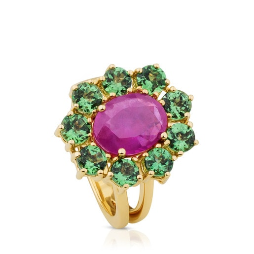 ATELIER Tea Time Ring in Gold with Ruby and Tsavorite