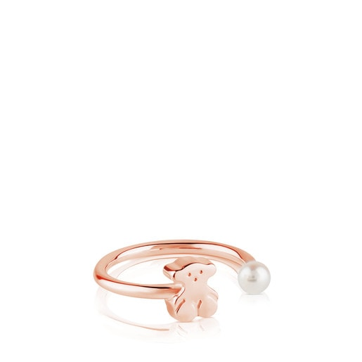 Rose Vermeil Silver Sweet Dolls Ring with Pearl