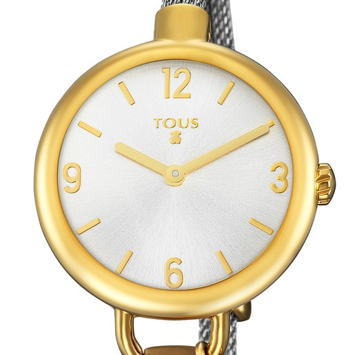 Gold IP Steel Hold Watch with Steel strap