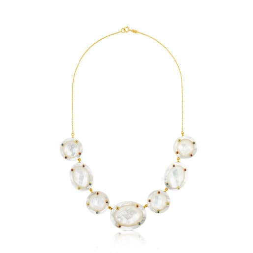 Ciel Necklace in Gold with Gems and Mother-of-Pearl