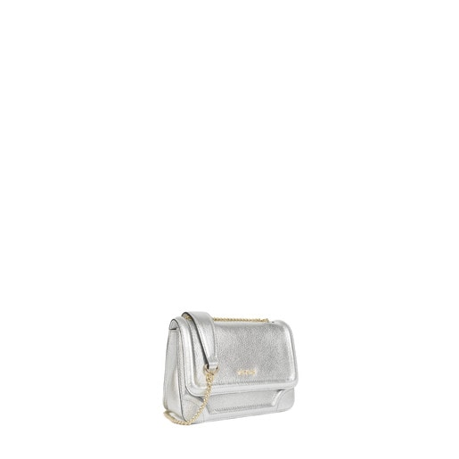 Small silver coloured Leather Obraian Crossbody Bag