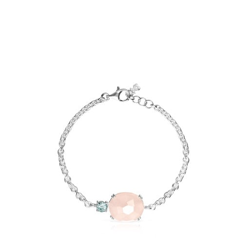 Falla Bracelet in Silver with Rose Quartz and Topaz