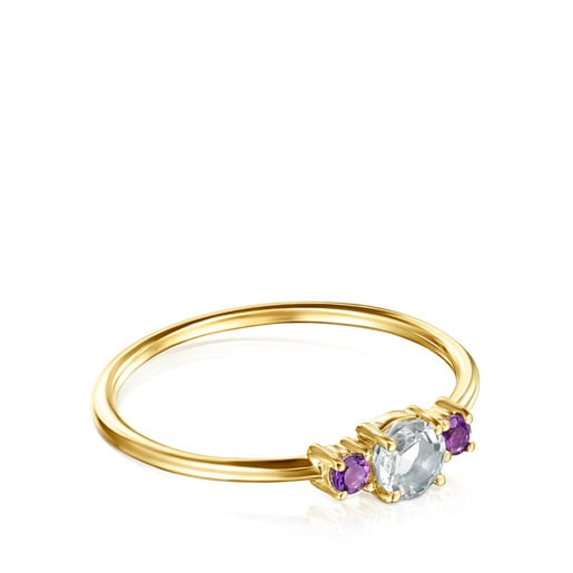 Mini Ivette Ring in Gold with Prasiolite and Amethyst