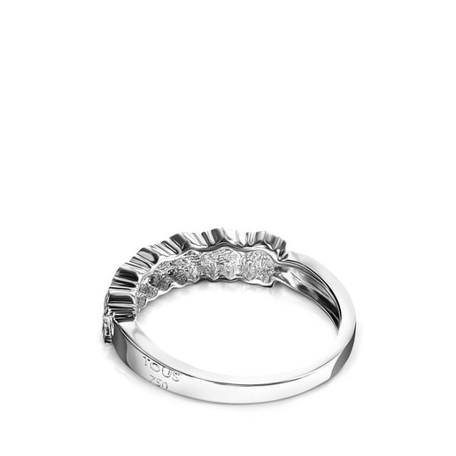 White Gold Puppies Ring with Diamonds