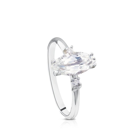 White Gold Eklat Ring with Diamonds and Topaz