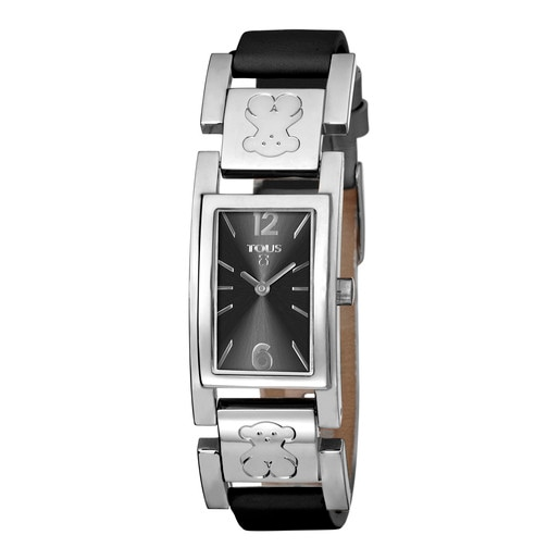 Steel Plate Watch with black Leather strap