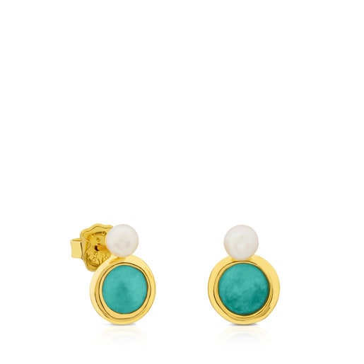 Vermeil Silver Alecia Earrings with Pearl and Amazonite