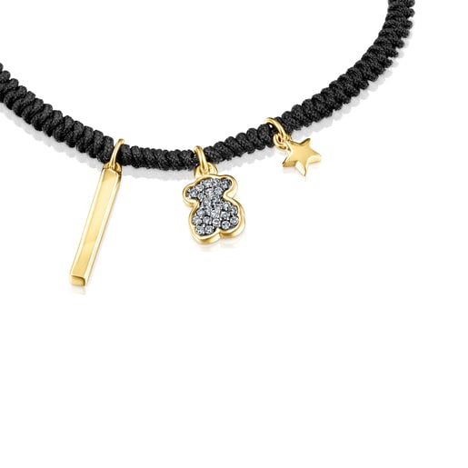 Nocturne Bracelet in Silver Vermeil with Diamonds and black Cord