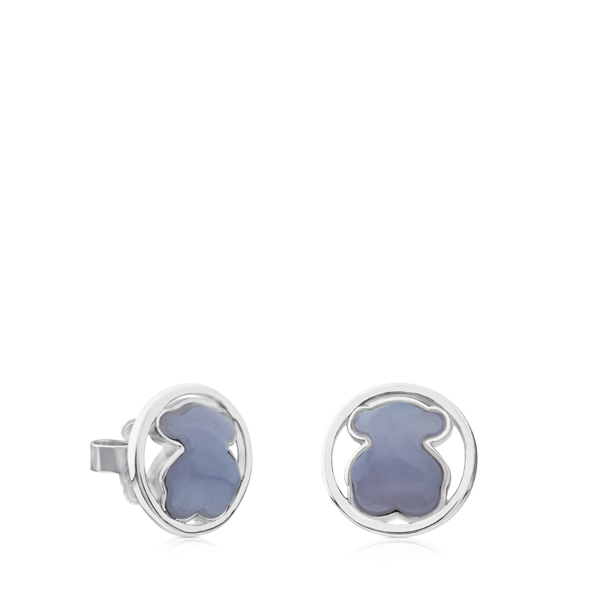 Silver Camille Earrings with Chalcedony