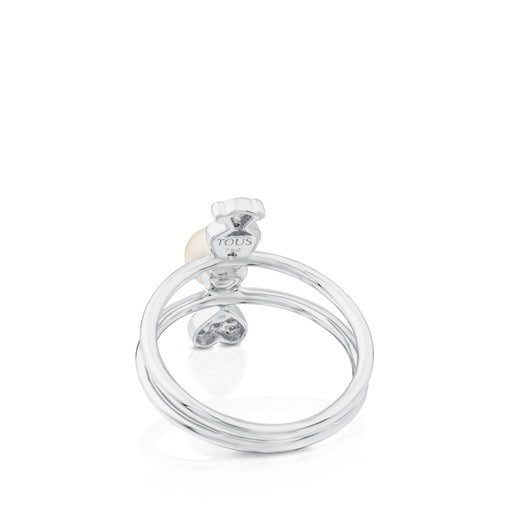 Bague Puppies en Or blanc avec Diamants et Perle.