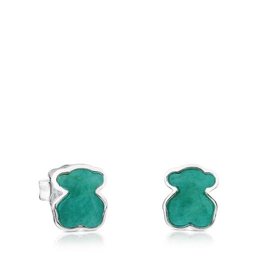 Pendientes New Color de Plata con Amazonita