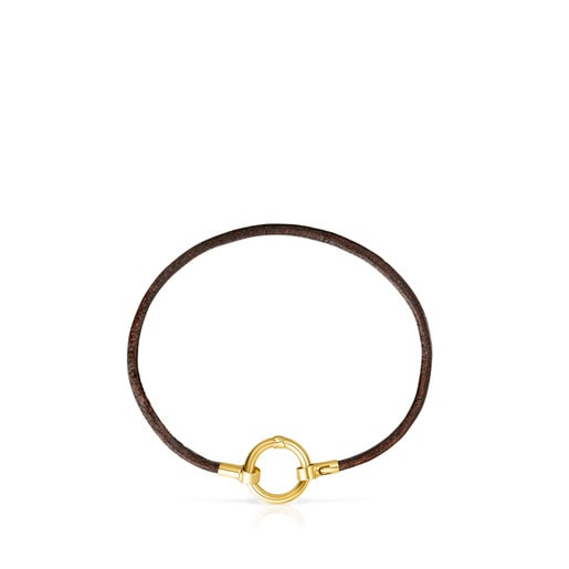 Gold and brown Leather Hold Bracelet
