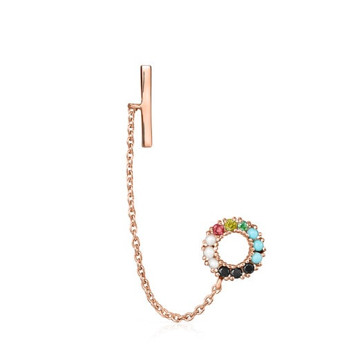 Straight Earring in Rose Silver Vermeil with Gemstones