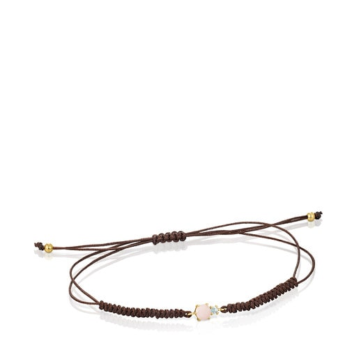 Mini Ivette Bracelet in Gold with Opal, Topaz and Brown Cord