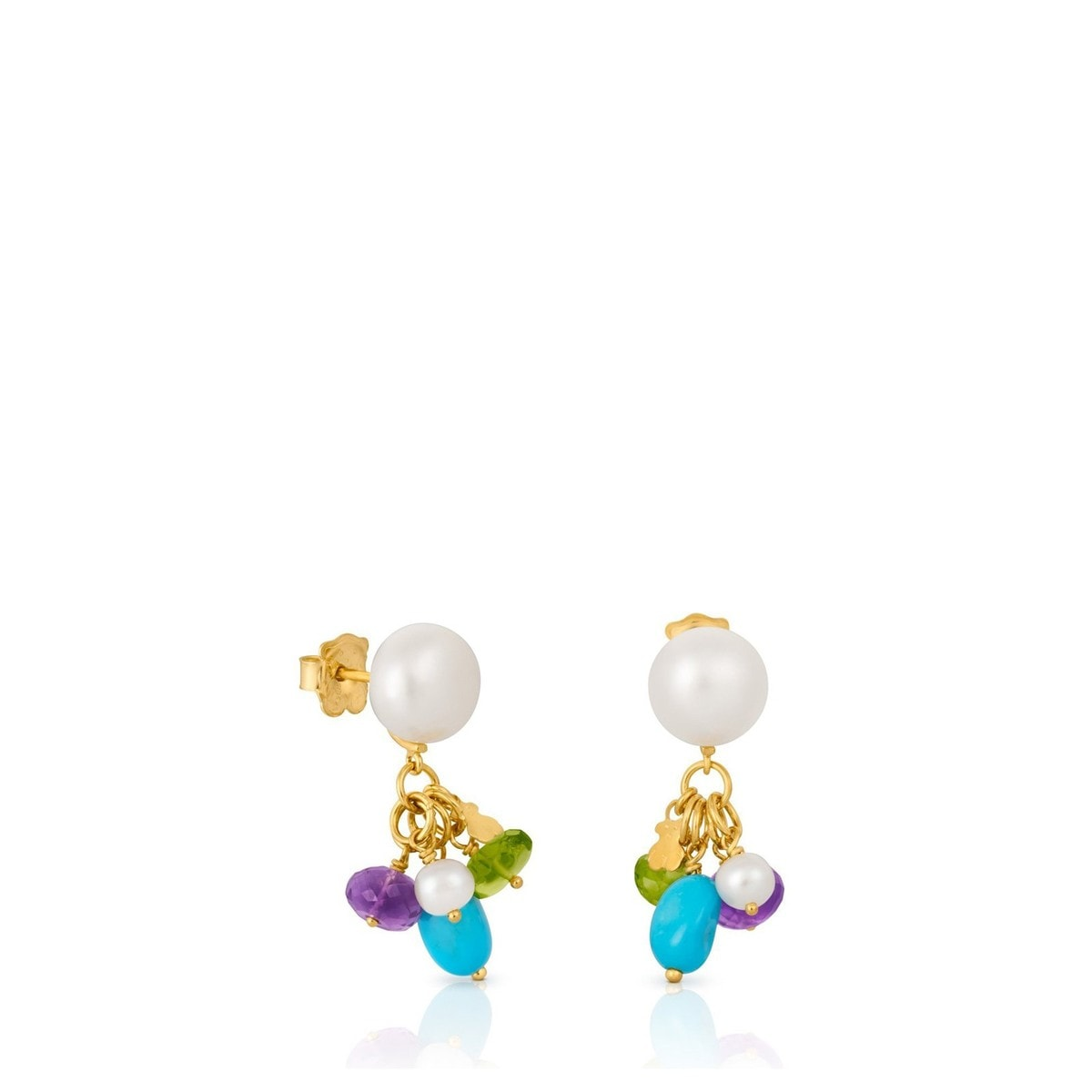 Gold Caprice Earrings with Gemstones and Pearl