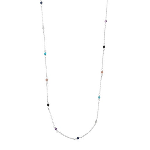 Silver Super Power Necklace with Gemstones