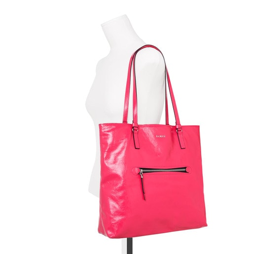 Sac shopping Tulia Crack grand en Cuir fuchsia