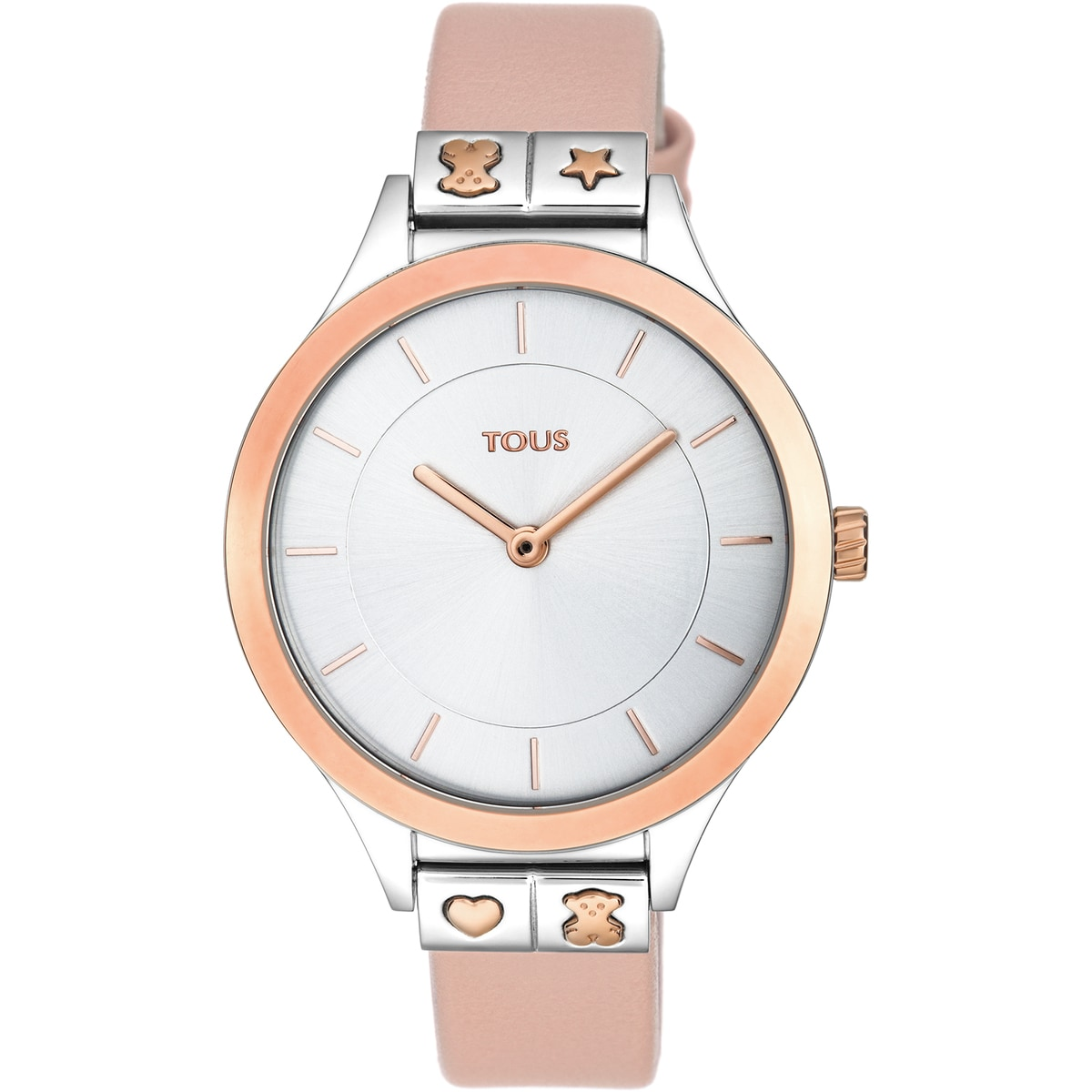 Rose IP Steel Lord Watch with nude leather strap