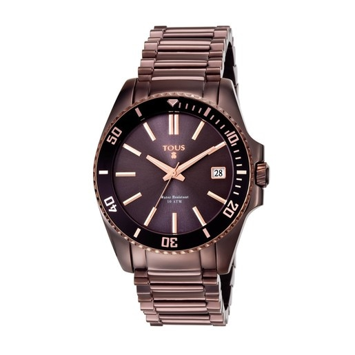 Two-tone chocolate/black IP Steel Drive Dive Watch