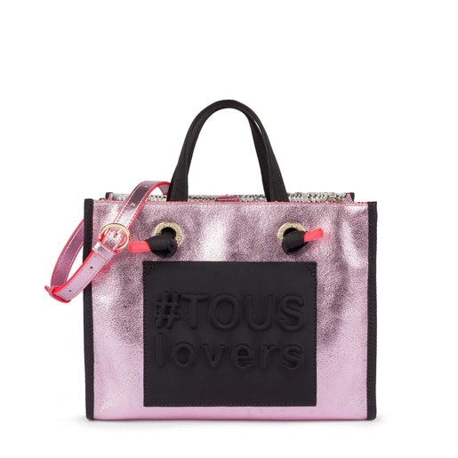 Sac shopping Amaya moyen Tweed rose