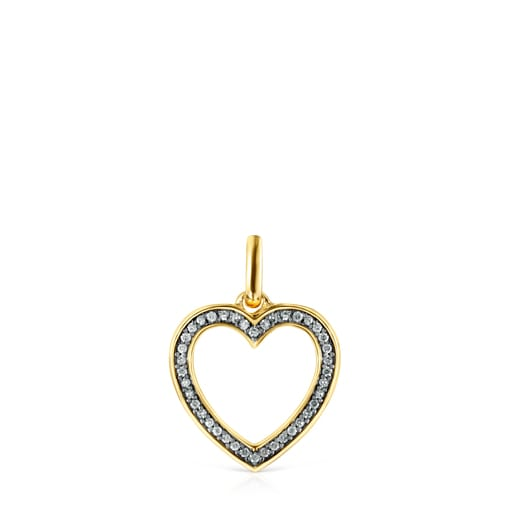 Nocturne heart Pendant in Silver Vermeil with Diamonds