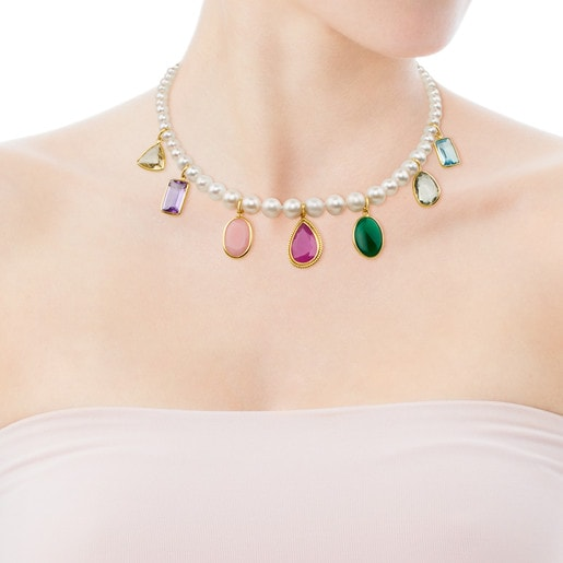 Collar Gem Power de Perlas y Oro con Gemas