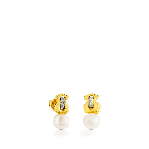 Gold Cruise Earrings with Diamonds and Pearl