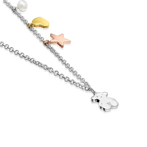 Silver Sweet Dolls Necklace with Silver Vermeil, Rose Silver Vermeil and Pearl